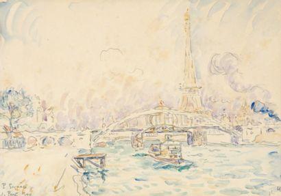 Paul SIGNAC Quai de Passy, paris 1900 Aquarelle (traces de rousseurs), Signée, située...