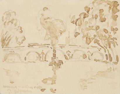 Paul SIGNAC Remorqueur sous un pont Crayon noir et lavis d'encre brune sur papier...