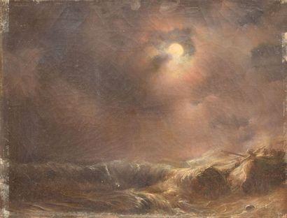 GUDIN Théodore, 1802-1880 Naufrage sur la côte huile sur toile (craquelures, enfoncement...