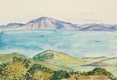 MARQUET Albert, 1875-1947,  Le détroit de Gibraltar, 1930  Aquarelle, signée, située...