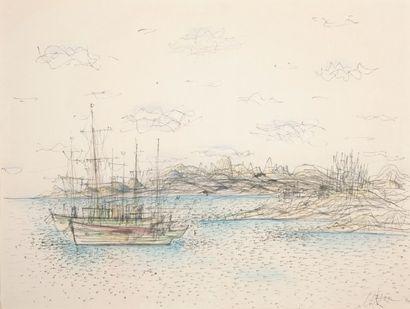 Rivage aux deux bateaux, 1967 Encre noire...