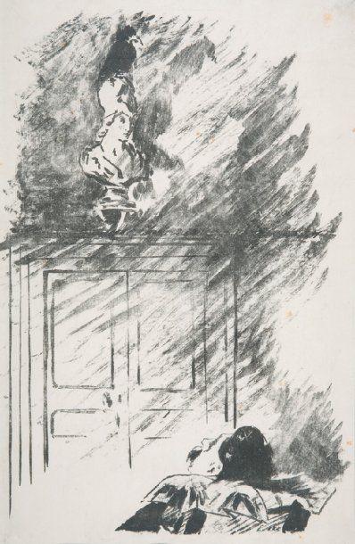 Edouard MANET Le corbeau sur le buste L'une des quatre illustrations pour Le Corbeau...