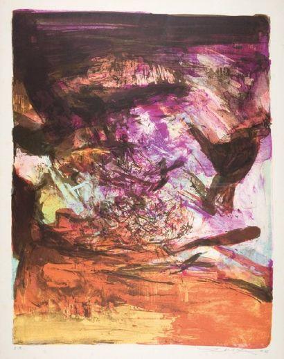 ZAO WOU-KI Sans titre Lithographie en couleurs. 1973. (J.Agerup 237) 61x49cm. Epreuve...