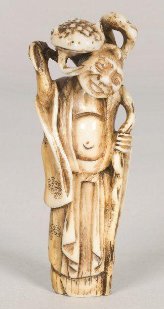 Netsuke en ivoire représentant Gama-Sennin,...