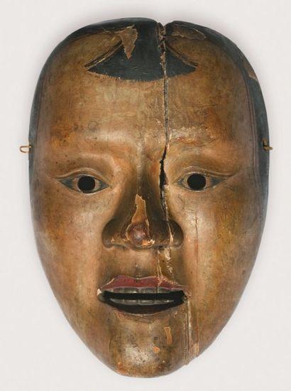 Masque de théâtre Nô en bois laqué beige...