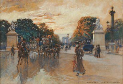 Georges STEIN Avenue des Champs-Élysées au crépuscule, Paris Aquarelle gouachee,...
