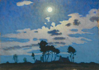 Charles Victor GUILLOUX Chaumière bretonne au clair de lune Huile sur carton, cachet...