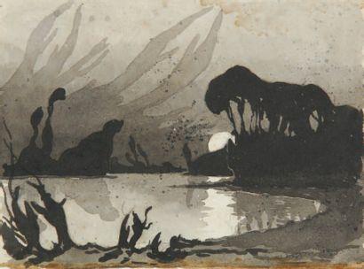 Charles Victor GUILLOUX Bord d'étang nocturne Lavis d'encre noire, (taches), cachet...