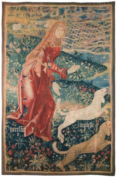 Rare tapisserie gothique, laine et soie,...