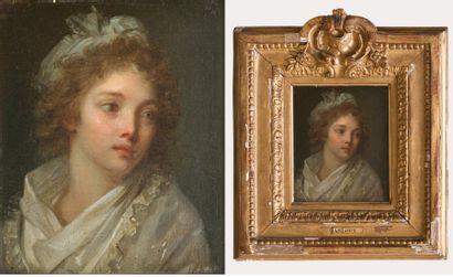 DANLOUX Henri Pierre (1753 -1809) Portrait de jeune fille Huile sur panneau. 12,5...