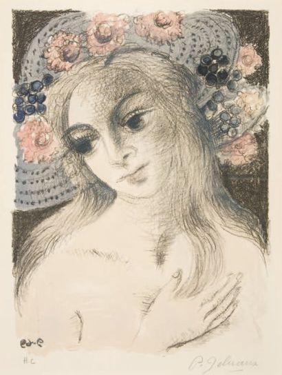 Paul DELVAUX Le chapeau fleuri. 1969 (M. Jacob 36). 31,5 x 23,5 cm. Lithographie...