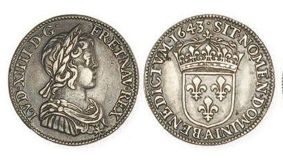 IDEM. Quart d'écu à la mèche courte, 1643...