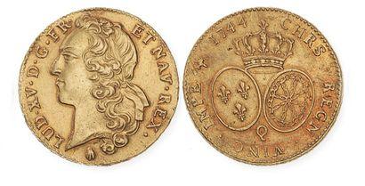 LOUIS XV (1715 - 1774). Double louis au bandeau,...