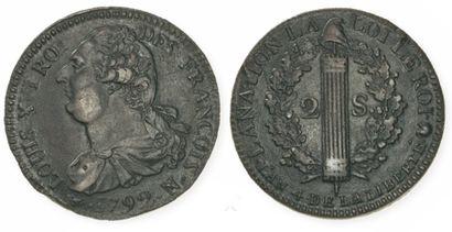 IDEM. 2 sols au faisceau, 1792 Montpellier....