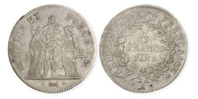 DIRECTOIRE (1795 - 1799). 5 francs Union...