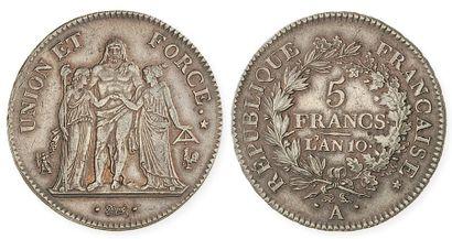 CONSULAT (1799 - 1804). 5 francs Union et...