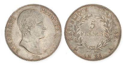 IDEM. 5 francs, an XI Paris. G 577. Voir...