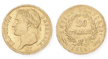 IDEM. 20 francs or, tête laurée, 1813 Utrecht....