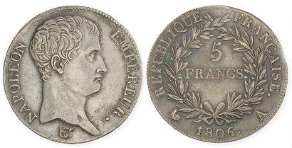 IDEM. 5 francs tête nue, 1806 A. G 581. TTB,...