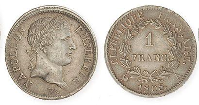 IDEM. 1 franc lauré, 1808 A. G 446. Supe...
