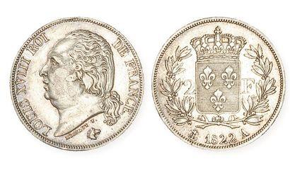 LOUIS XVIII (1814 - 1824). 2 francs, 1822...