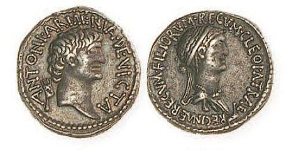 REPUBLIQUE, Marc Antoine et Cléopâtre (32 - 31). Denier (3,79 g) au buste diadémé...