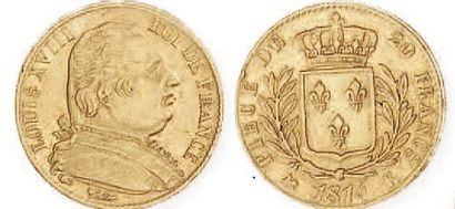 IDEM. 20 francs or, buste habillé, 1814 Bordeaux....