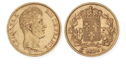 CHARLES X (1824 - 1830). 40 francs or, 1824...