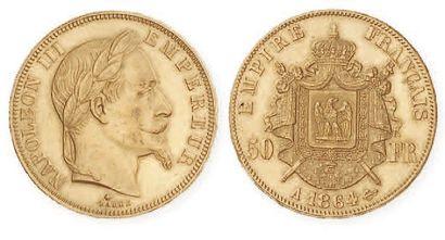 IDEM. 50 francs laurée, 1864 A. G 112. TTB...