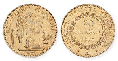 b IDEM. Rare 20 francs or 1896 A, torche....