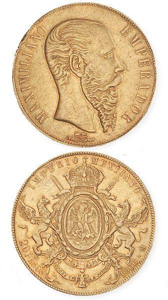 IDEM. Maximilien (1864 - 1866) 20 pesos, 1866. TTB, marques sur la tranche.