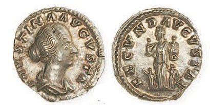 FAUSTINE JEUNE (mort en 175), épouse de Marc Aurèle. Denier à la Fécondité entourée...
