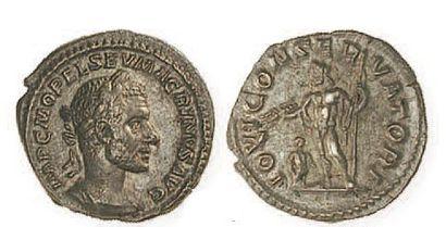 MACRIN (217- 218). Denier au Jupiter debout...