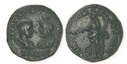 GORDIENIII (238 - 244). Bronze de Césarée de Cappadoce aux bustes affrontés de l'empereur...