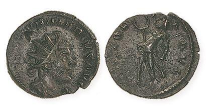 MARIUS (268). Antoninien de bronze à la Victoire debout, appuyée sur un bouclier....