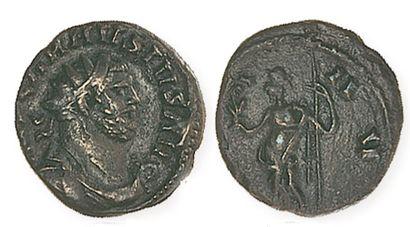 CARAUSIUS (287 - 293). Antoninien de bronze à la Paix debout, tenant sceptre et...