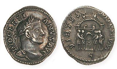 DIOCLETIEN (284- 305). Argenteus. R /Quatre princes sacrifiant sur un autel devant...