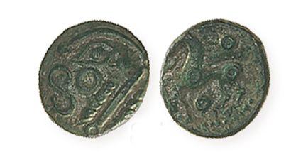 GAULE, Bellovaques. Bronze au cheval entre deux astres. LT7248. Superbe, avec très...