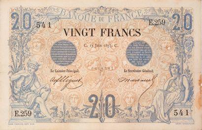 20F. NOIR Type 1873 du 17/6/1875. F 9/2....