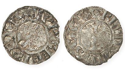 PROVINS et SENS Denier anonyme (1,18g) au peigne champenois et à la croix couronnée...