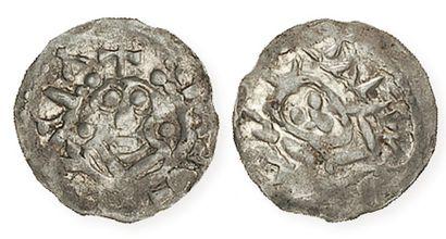 ROBERT II et ADALBERON (996- 1031). Denier de Laon aux bustes du roi et de l'évêque...