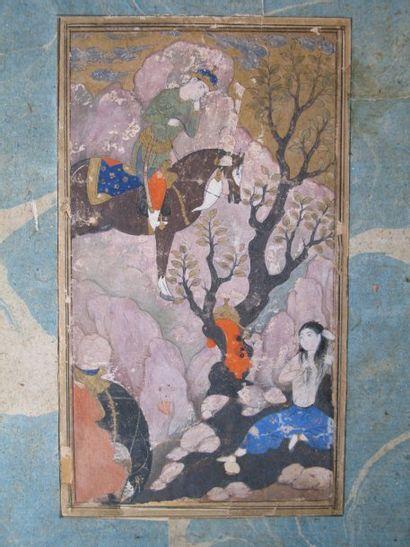 Iran XVIIe. Peinture illustrant le roi Khosrow...