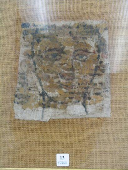 Tissu Copte, fragment d'un portrait d'homme...