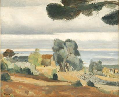 Edmond CÉRIA Maison provençale en bord de mer Huile sur toile, signée en bas à gauche,...