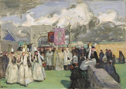 Lucien SIMON Procession au pays bigouden Aquarelle gouachée, signée en bas à gauche,...