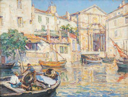Adolphe Louis GAUSSEN Les Martigues, vue du port de l'église Huile sur toile, signée...