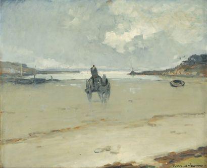 Henry Maurice CAHOURS Charrette sur la grève à marée basse, Berck Huile sur isorel,...