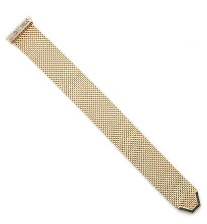 Bracelet ruban souple en or jaune et or gris...