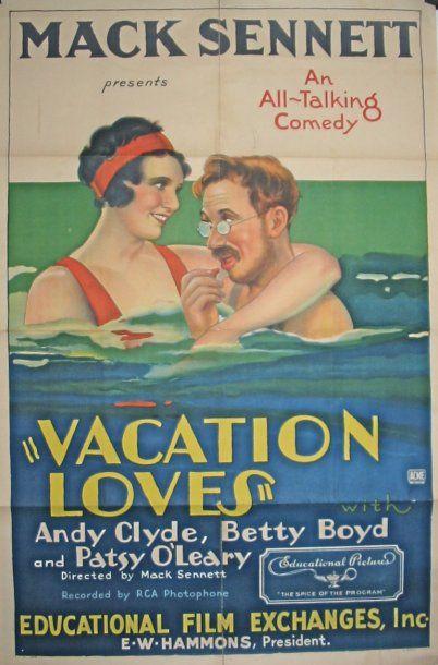 VACATION LOVES, 1930 Mack Sennet, one sheet...
