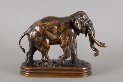 Antoine Louis BARYE Éléphant d'Asie Bronze à patine brune nuancée, fonte ancienne...
